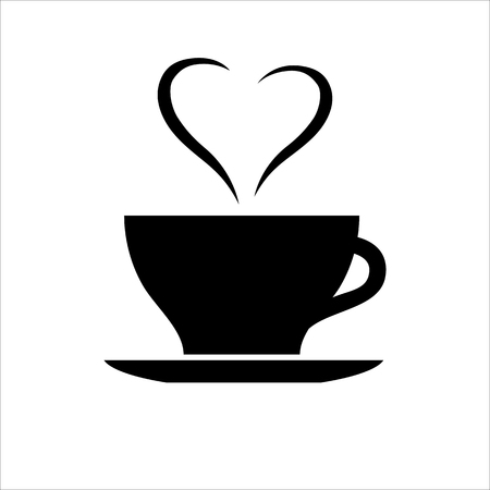 Cup of coffee or tea with heart shaped smoke. Symbol of romance and bonding over cup of warming drink. Vector Illustration