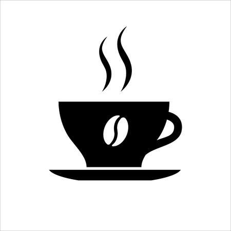 Cup of coffee icon. Hot beverage mug with coffee bean picture, saucer and smoke. Vector Illustration Ilustração