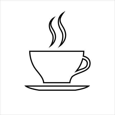 Cup of coffee or tea line icon. Hot beverage mug on saucer and smoke. Vector Illustration Stock Illustratie