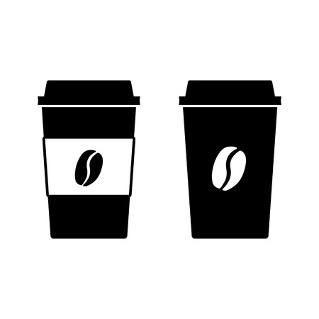 Disposable coffee cup icons. Paper cups with lid and coffee bean sign. Vector Illustration Ilustração
