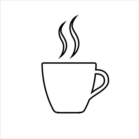Espresso line icon Strong coffee in espresso cup and smoke Vector Illustration Stock Illustratie