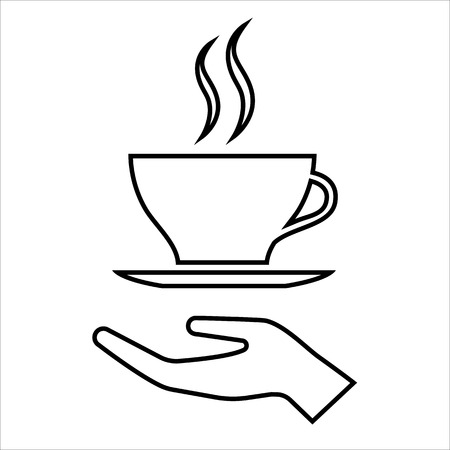 Hand with cup of coffee or tea line icon. Offer of hot beverage. Vector Illustration Stock Illustratie