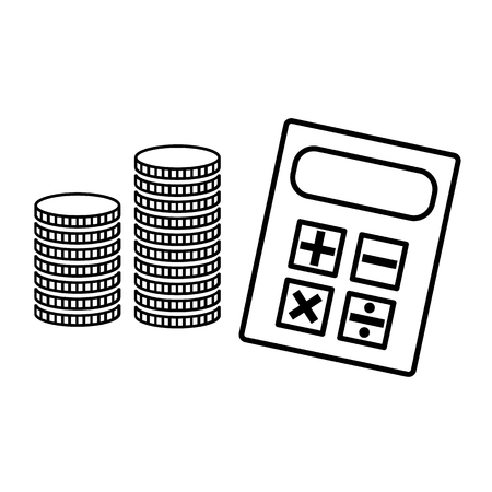 Calculator and stack of coins line icon. May represent concepts of accounting, banking and money savings. Vector Illustration Vektorgrafik