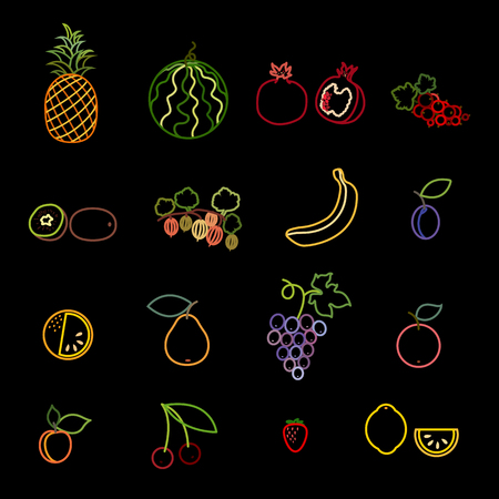 Set of fruit and berry line icons. Pineapple, watermelon, pomegranate, currant, kiwi, gooseberry, banana, plum, orange, pear, grapes, apple, apricot, cherry, strawberry and lemon vector illustration.