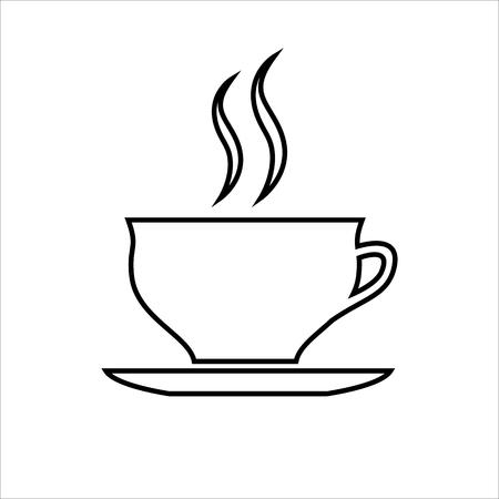 Cup of coffee or tea line icon. Hot beverage mug on saucer and smoke. Ilustração