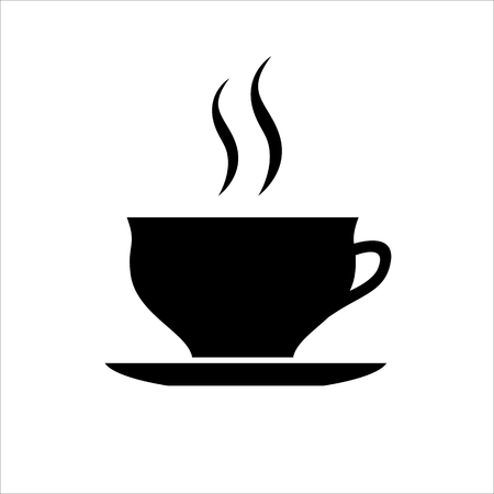 Cup of coffee or tea icon. Hot beverage mug on saucer and smoke. Vector Illustration Ilustração