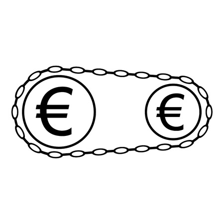 Money working icon. Euro coins as cogwheels linked with chain. Vector Illustration