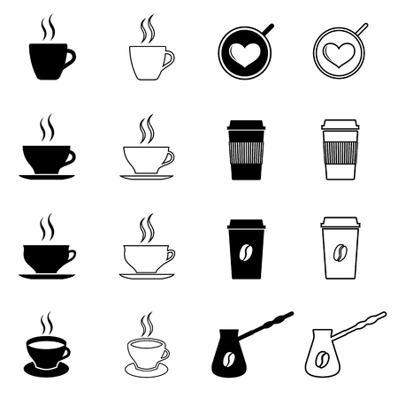 Set of coffee and tea icons. Coffee and tea traditional cups, disposable paper cups, Turkish coffee pot.
