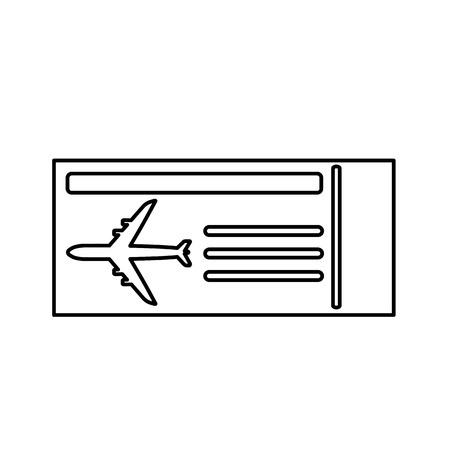 Boarding pass line icon. Aircraft boarding ticket with plane picture. Vector Illustration