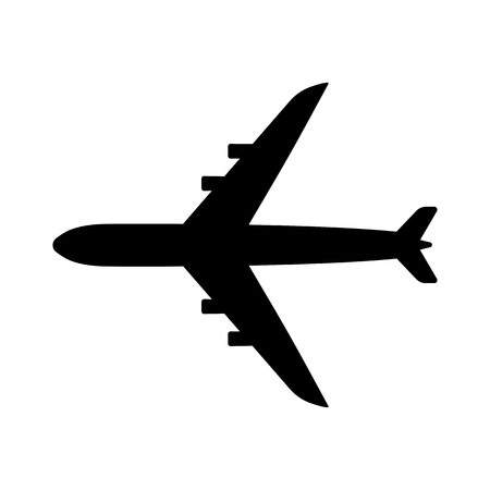 Airplane top view icon. Aircraft, passenger plane with four jet engines.