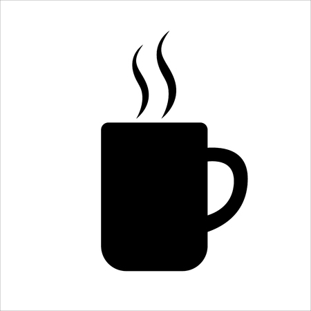 Big mug of coffee or tea icon. Hot beverage cup and smoke. Vector Illustration