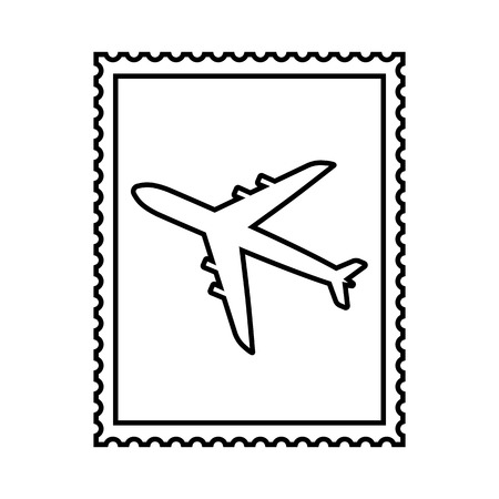 Postal stamp line icon with air plane picture. Airmail postal stamp with perforation holes. Vector Illustration