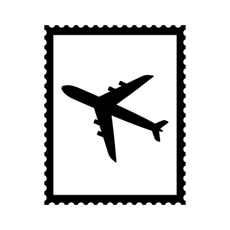 Postal stamp icon with air plane picture. Airmail postal stamp with perforation holes. Vector Illustration