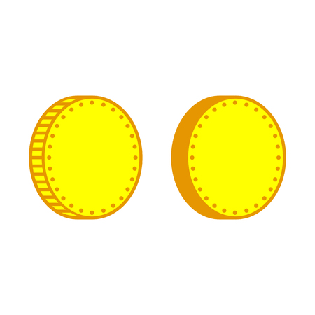 Coin or money icons. Blank metal coins with different edges. Vector Illustration