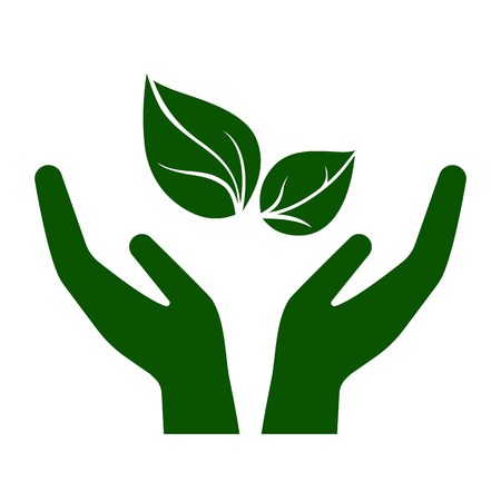 Icon of hands carefully holding green leaves. Symbol of ecology, environmental awareness, nature protection concept. Vector Illustration Illustration