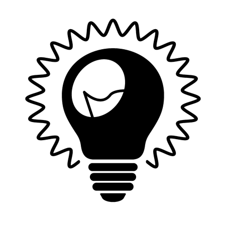 Bulb icon. Shining light bulb with rays and wire filament. Suitable for idea, invention or discovery concept sign. Vector Illustration Çizim