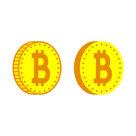Bitcoin or digital currency icons. Coins with bitcoin signs with different edges. Vector Illustration