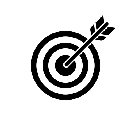 Target and arrow icon. Perfect shot with arrow in bull's eye of archery or dart target. Vector Illustration