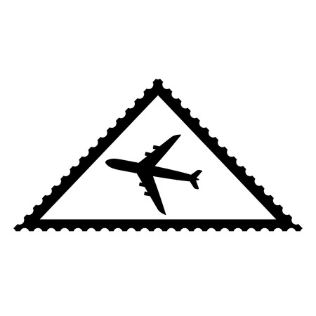 Triangle shaped postal stamp icon with air plane picture. Triangular airmail postal stamp with perforation holes. Vector Illustration