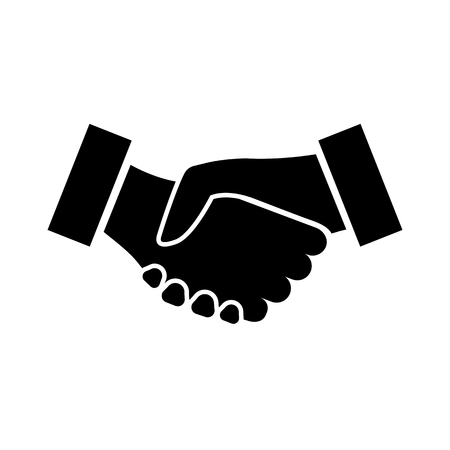 Icono de apretón de manos. Dos manos temblorosas en confirmación de contrato comercial, acuerdo, asociación o alianza. Ilustración vectorial