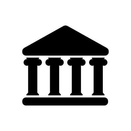 Casa con icono de columnas. Edificio de banco, gobierno, palacio de justicia, establecimiento educativo o cultural con columnas griegas clásicas. Ilustración vectorial