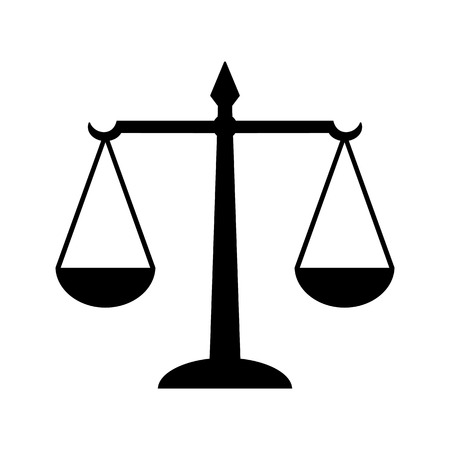 Law scales of justice icon. Symbol of law measuring legal cases support and opposition. Vector Illustration