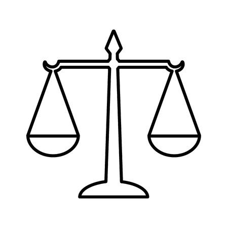 Icône de ligne d'échelles de droit de la justice. Symbole de loi mesurant le soutien et l'opposition d'un cas juridique. Illustration vectorielle