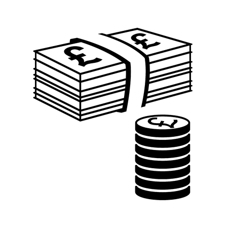Money icon. Stack of coins and pile of bills with pound signs. Vector Illustration