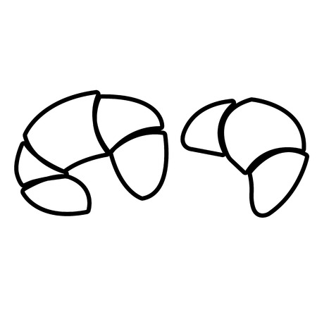 Croissant line icons. Two crescent shaped croissant pastries. Vector Illustration