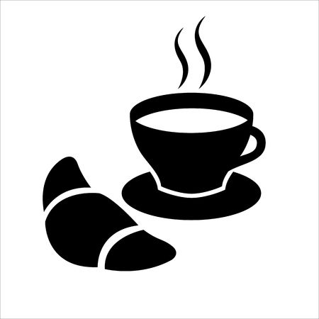 Sweet snack icon. Traditional morning snack with coffee and croissant. Vector Illustration Illustration