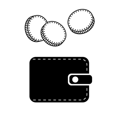 Wallet and money icon. Coins falling into leather wallet. Vector Illustration