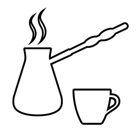 Icône de cafetière et tasse à café turc. Cezve avec café chaud et tasse de service. Illustration vectorielle