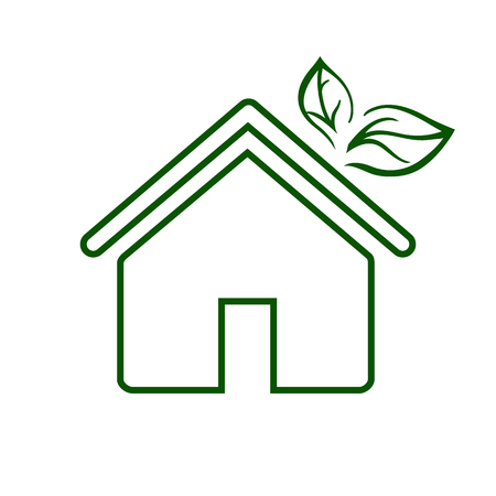 Eco house line icon. Environmentally sustainable home or house with green leaves. Vector Illustration