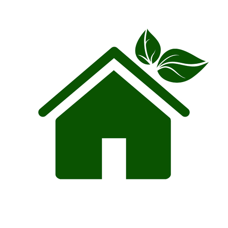 Eco house icon. Environmentally sustainable home or house with green leaves. Vector Illustration