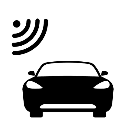 Connected car icon. Car front view and wifi, gps, wireless navigator or alarm signal. Vector Illustration
