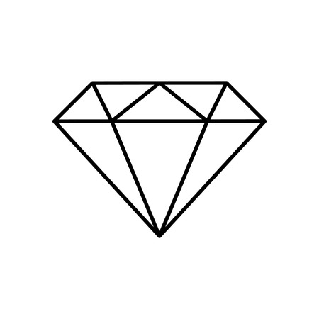 Diamond line icon. Brilliant cut diamond or other gem side view. Vector Illustration