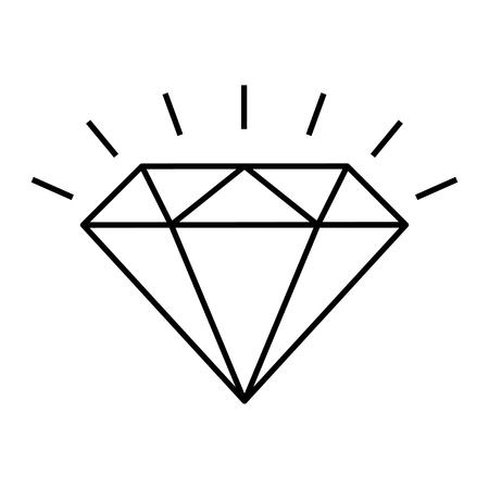 Shining diamond line icon. Brilliant cut diamond or other gem side view. Vector Illustration