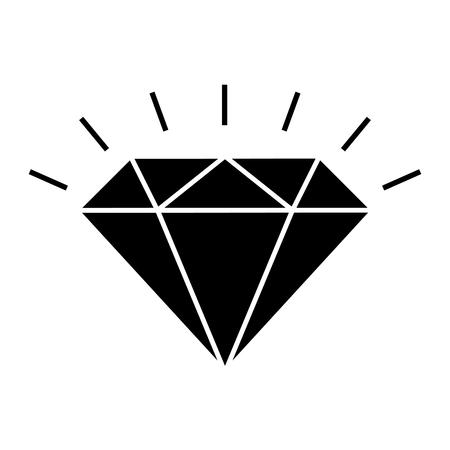 Shining diamond icon. Brilliant cut diamond or other gem side view. Vector Illustration