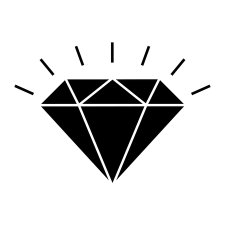 Shining diamond icon. Brilliant cut diamond or other gem side view. Vector Illustration