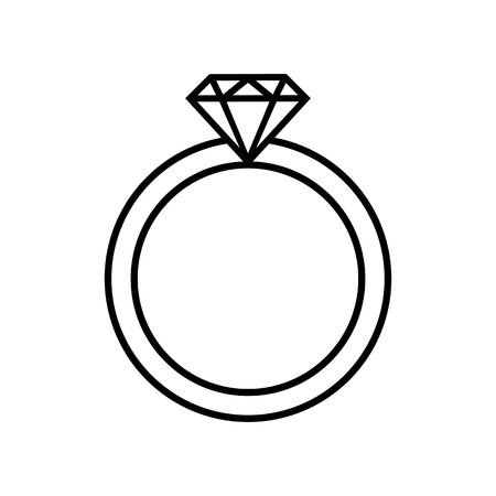 Line icon of ring with diamond or other gem. Engagement or marriage ring, expensive jewelry. Vector Illustration