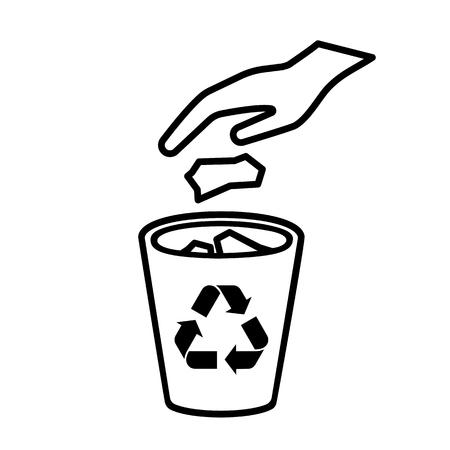 Kein Abfall Liniensymbol. Übergeben Sie das Werfen des Abfalls, des Abfalls, des Abfalls im Papierkorb. Vektor-Illustration Vektorgrafik