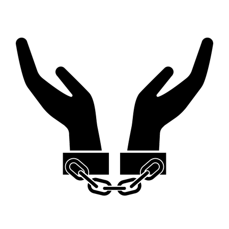 Handcuffs, manacles or shackles icon. Chained, handcuffed hands. Vector Illustration