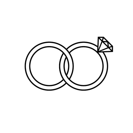 Marriage or engagement rings line icon. Bridal rings for him and for her. Vector Illustration