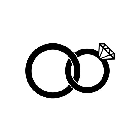 Marriage or engagement rings icon. Bridal rings for him and for her. Vector Illustration