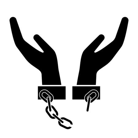 Gebroken handboeien, handboeien of ketenen pictogram. Ontketende handen als symbool van vrijheid. Vector illustratie Vector Illustratie
