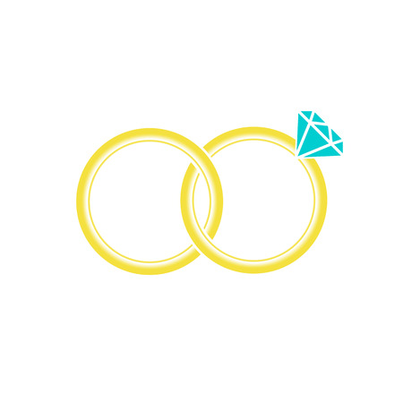 Marriage or engagement rings. Bridal rings for him and for her. Vector Illustration