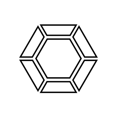 Diamond line icon. Brilliant cut diamond or other gem top view. Vector Illustration