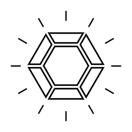 Icono de línea de diamante brillante. Diamante de talla brillante u otra vista superior de gema. Ilustración vectorial