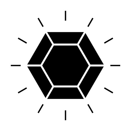Shining diamond icon. Brilliant cut diamond or other gem top view. Vector Illustration Illustration