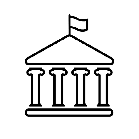 House with columns and flag line icon. Building of government, embassy, official institution or establishment with flying banner. Vector Illustration